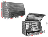 Aluminium Toolbox Ute Tool Box Drawers Storage Truck Canopy Trailer Locks