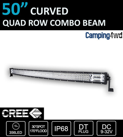 "50"" 1480W Curved LED Light Bar Cree Spot Flood Combo"