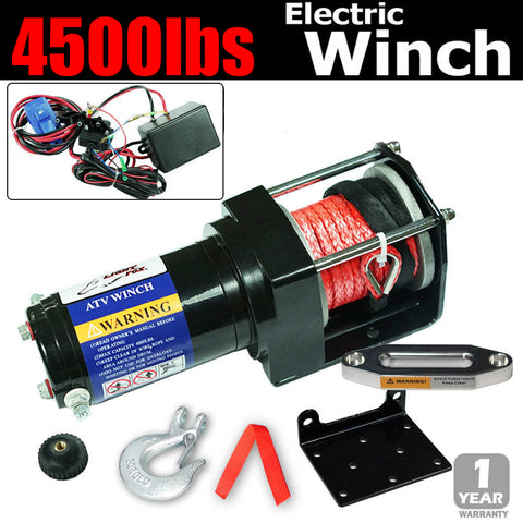 4500LBS Dyneema Rope Electric Winch Wireless Remote