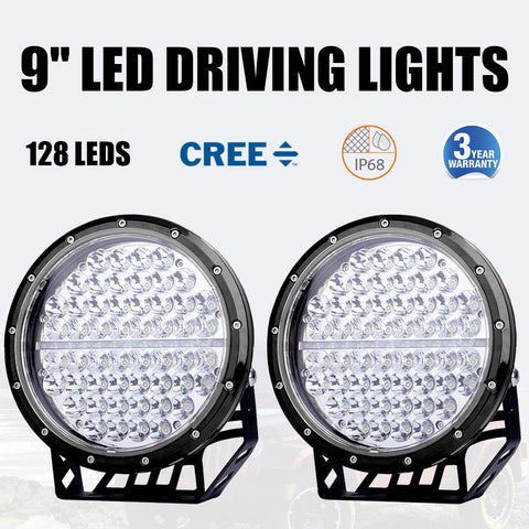 "Pair of Black 9"" (225mm) EmuX LED Driving Lights"
