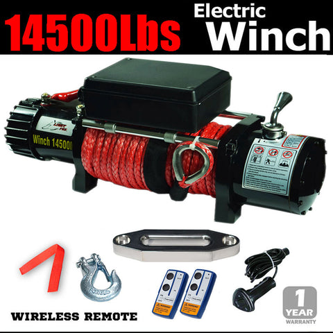 14500lbs 7.25ton electric winch remote 12v truck dyneema rope 4x4