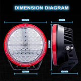 "Pair of Red 9"" (225mm) EmuX LED Driving Lights"