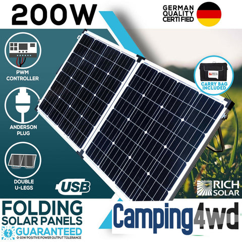 12V 200W Folding Solar Panel Kit Caravan Boat Camping Power