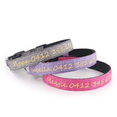 Oxford 'Shimmer' Range - Personalised Dog Collar