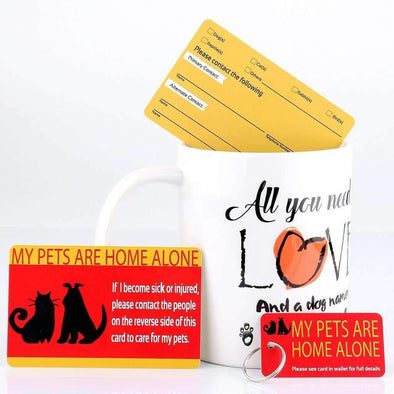 My Pets Are Home Alone - Emergency Information Wallet Card & Key Ring Tag Set