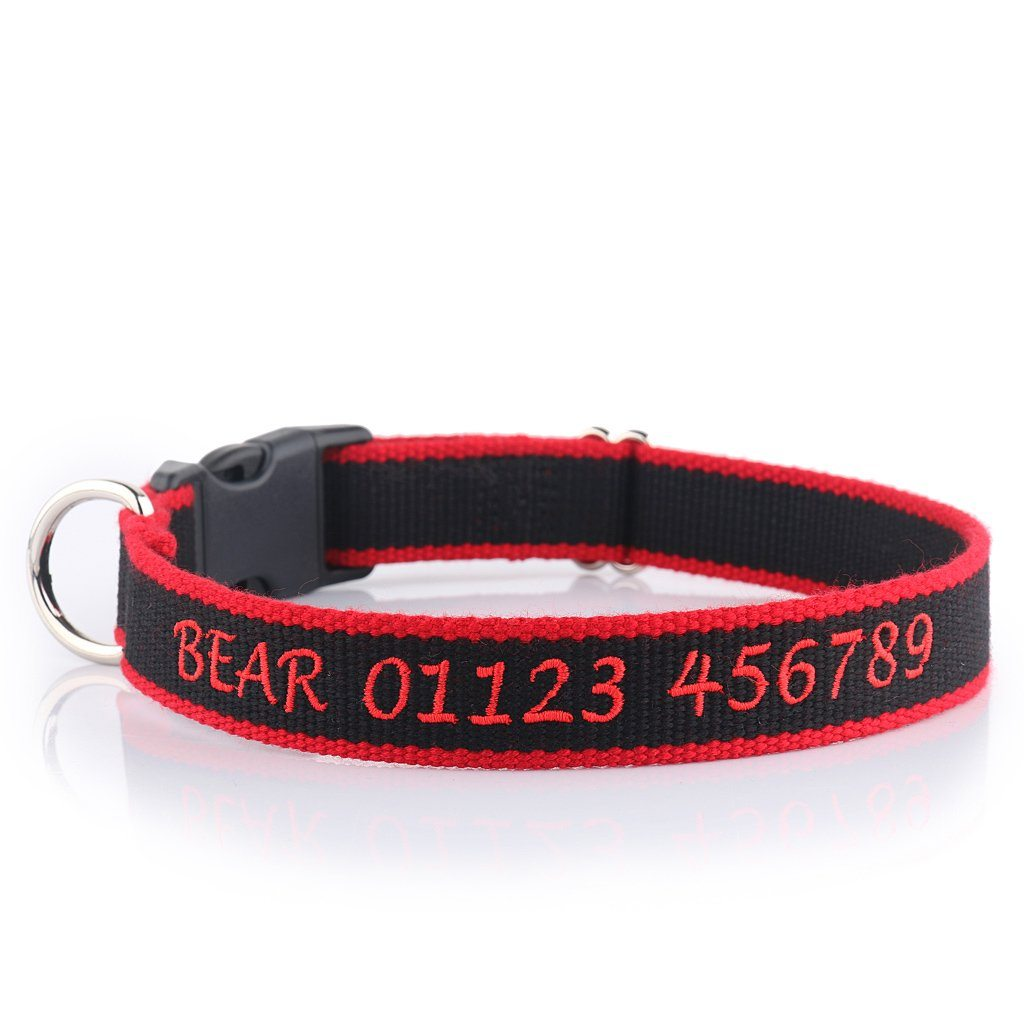 Personalised Embroidered Collar Made From Organic Bamboo