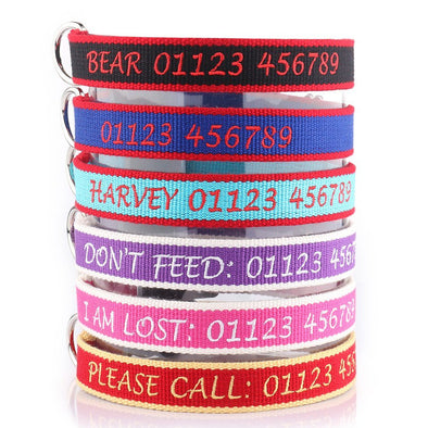 Personalised Embroidered Collar - Made from Organic Bamboo Webbing