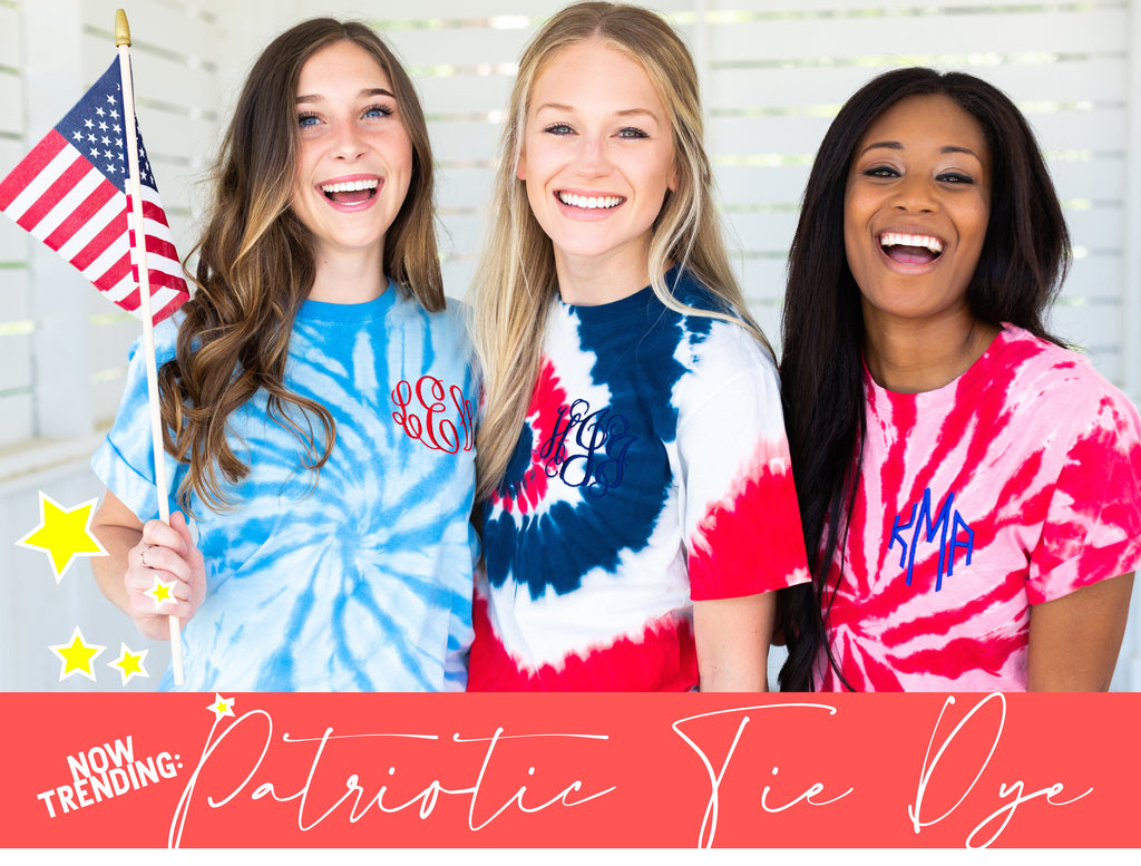 Patriotic July 4th Tie Dye Monogram tees