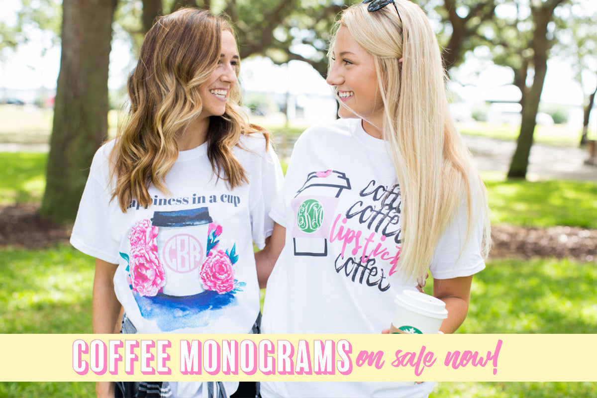 Monogrammed Coffee Themed Shirts on Sale