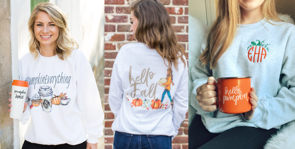 Fall Monogrammed Clothing - Autumn Themed, Pumpkins