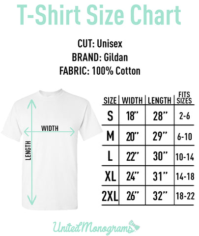 Adult United Monogram Size Chart