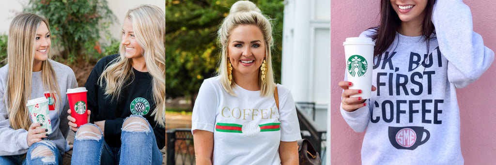 Coffee & Caffeine Monogrammed Themed Clothing