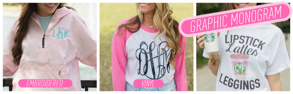 Graphic Monograms Compared to Embroidery & Vinyl