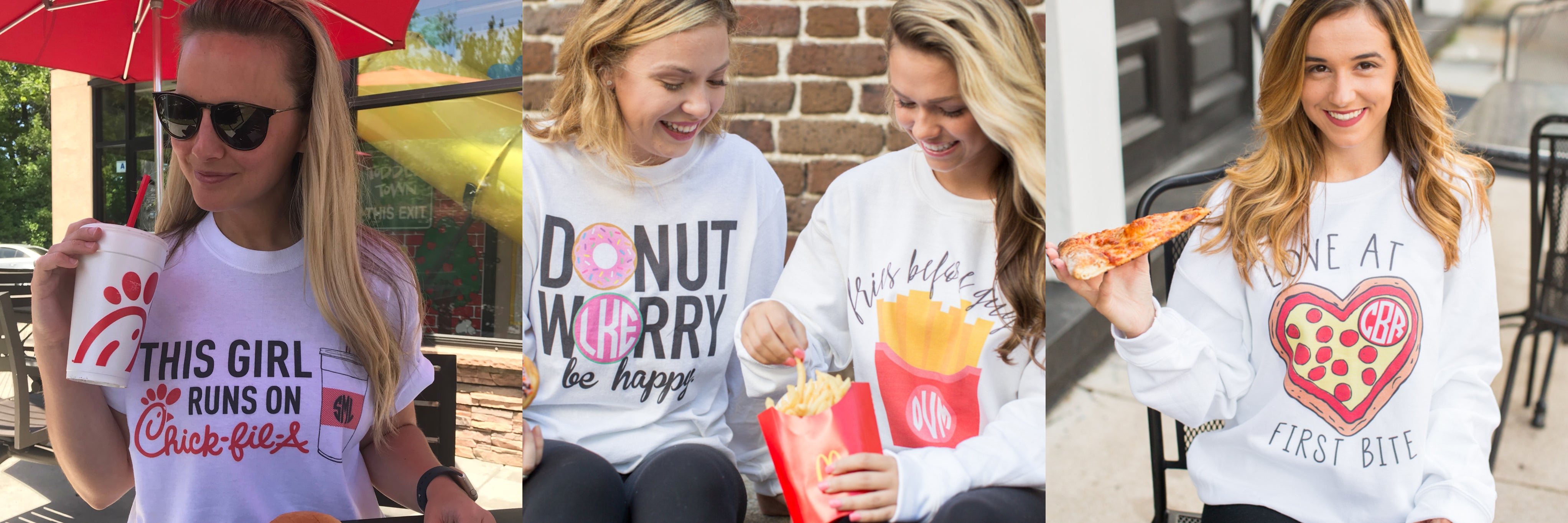 Monogrammed Pizza, Donut & Food Shirts- Foodie Collection