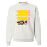 Monogrammed Wild About Teaching Leopard Pencil Sweatshirt