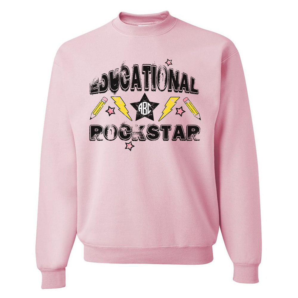 Monogrammed Educational Rockstar Band Tee Teacher Sweatshirt