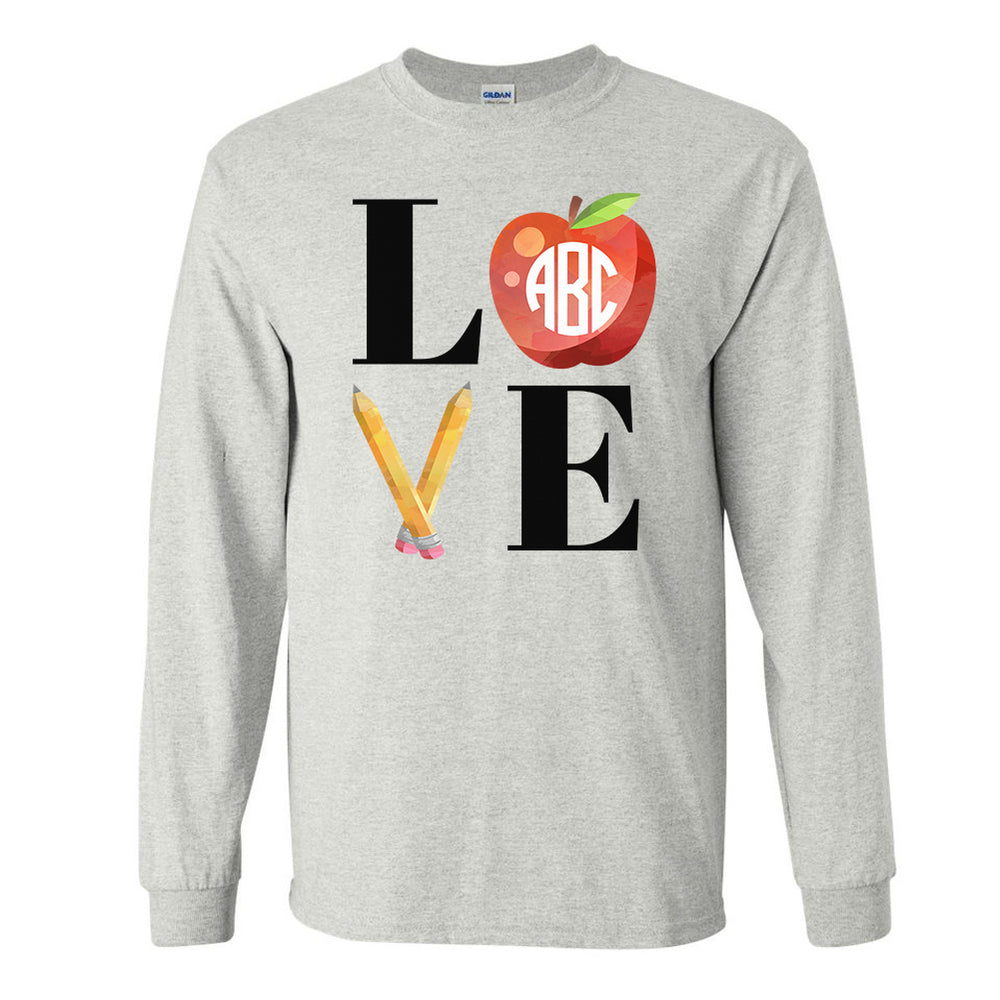 Monogrammed Teacher LOVE Long Sleeve Shirt