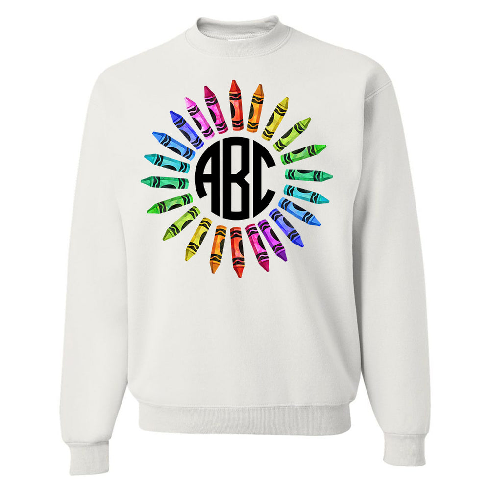 Monogrammed Crayons Wreath Teacher Sweatshirt