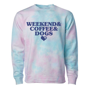 Monogrammed 'Weekend & Coffee & Dogs' Tie Dye Crewneck Sweatshirt