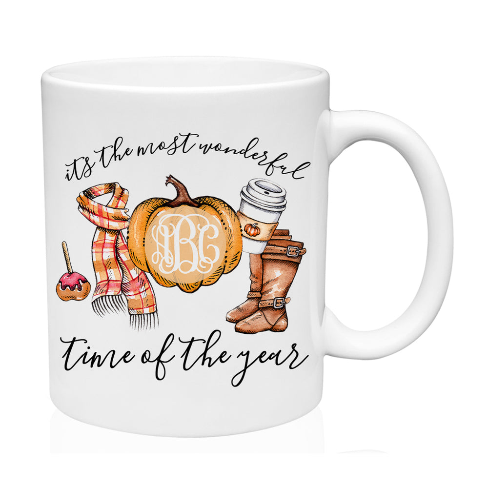 Monogrammed 'Most Wonderful Time' Mug