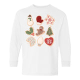 Monogrammed Kids Youth Christmas Cookies Long Sleeve Shirt