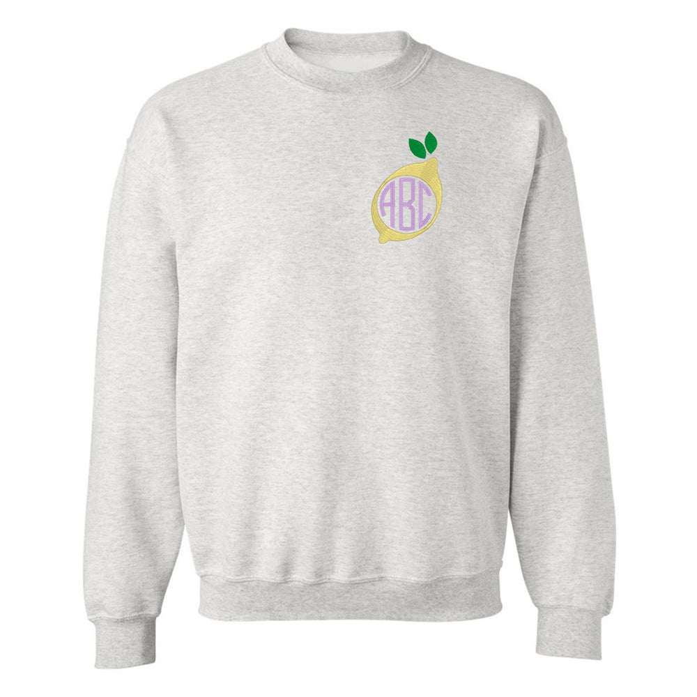 United Monogram Embroidery Lemon Crewneck Ash Grey