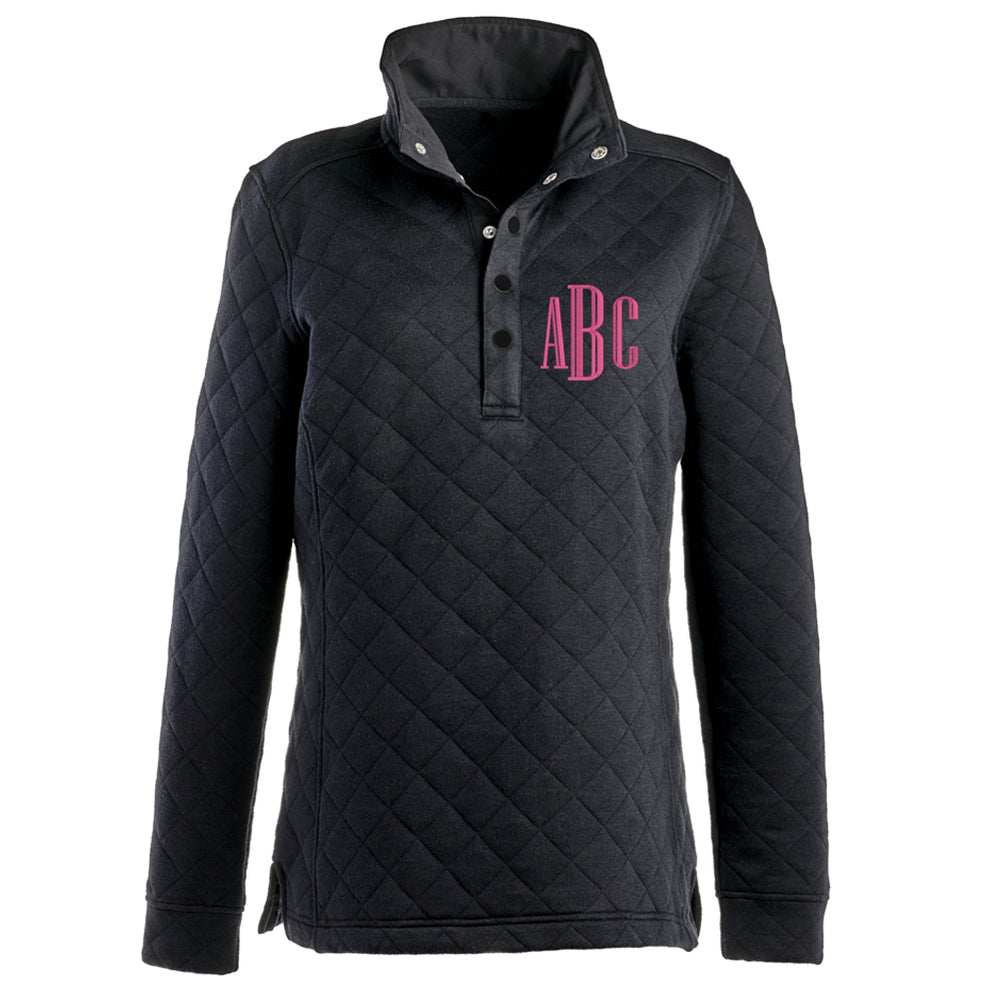 Monogrammed Quilted Snap Pullover