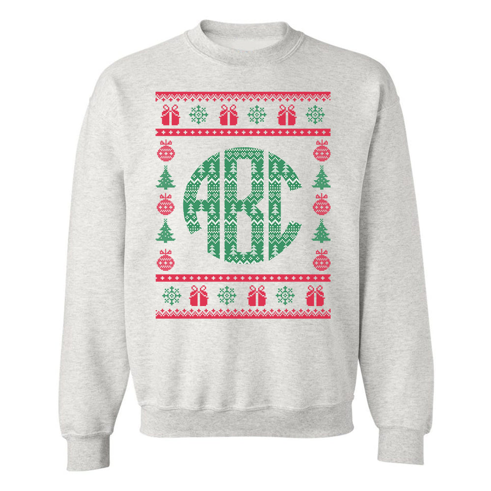 Monogrammed Christmas Sweater Crewneck Sweatshirt
