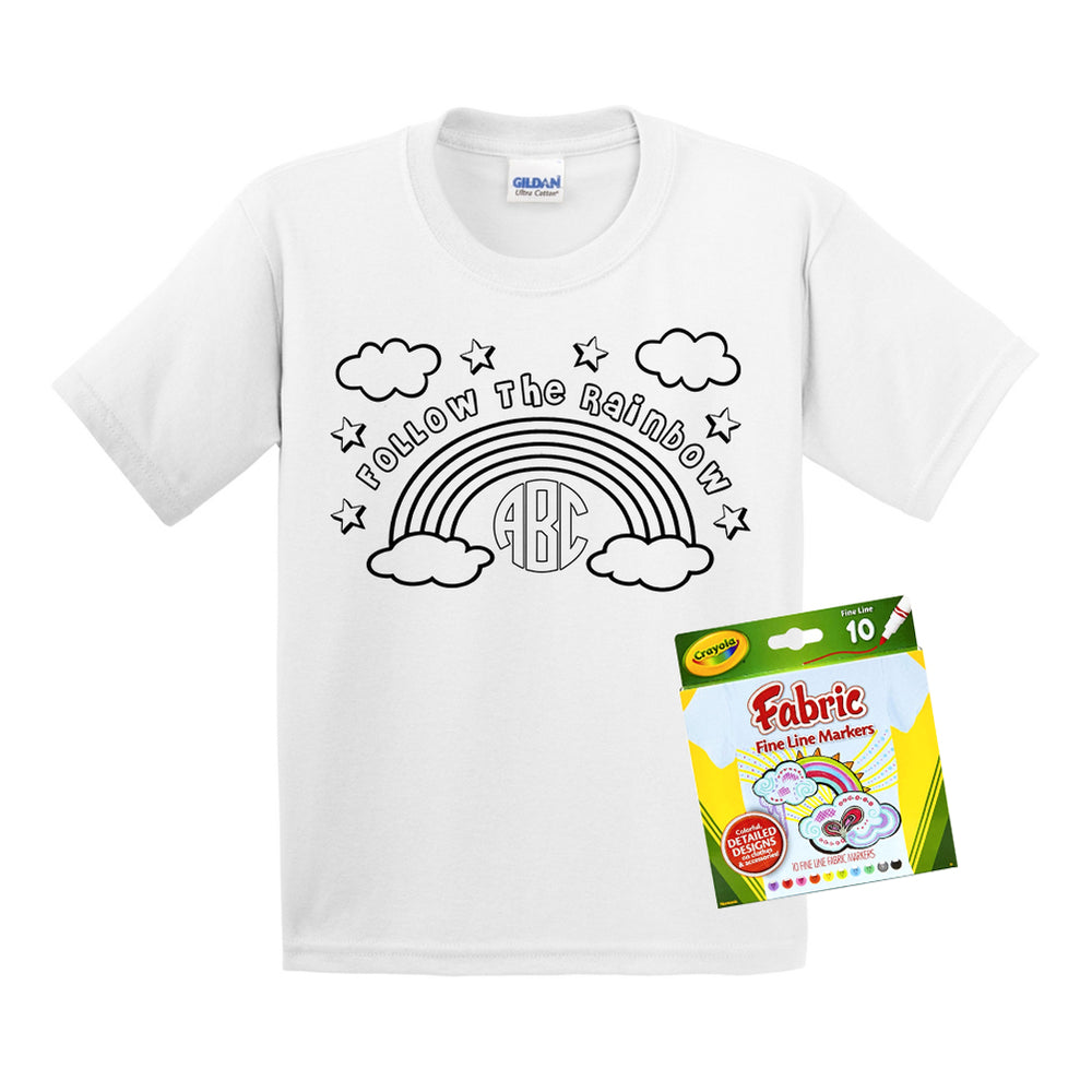 Monogrammed Coloring Rainbow Kids Youth T-Shirt