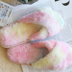 Tie-Dye Faux Fur Slippers