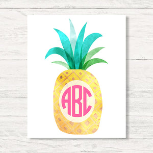 Monogrammed Watercolor Pineapple Wall Art Canvas'