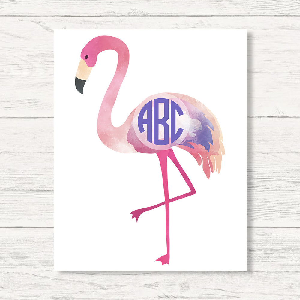 Monogrammed Watercolor Flamingo Wall Art Canvas