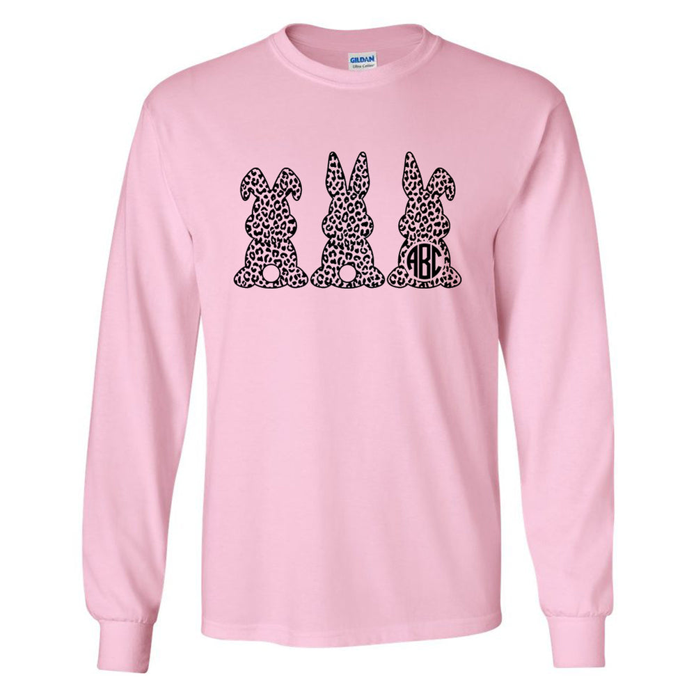Monogrammed Leopard Easter Bunny Long Sleeve Shirt