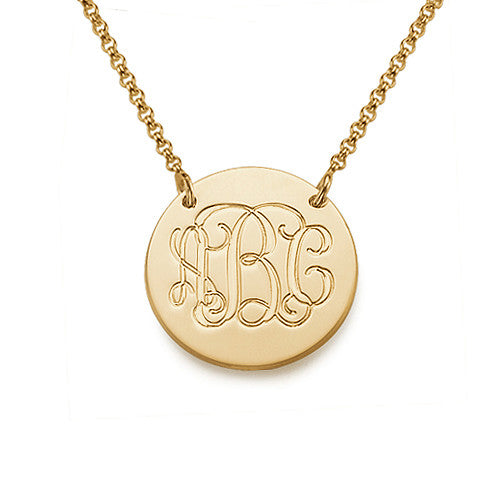 Monogrammed Gold Plated Disc Necklace
