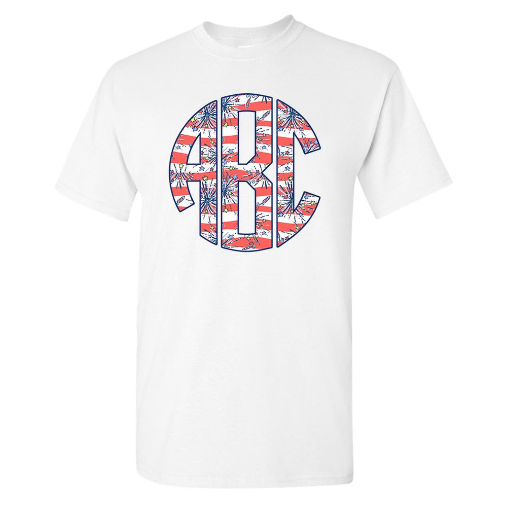 Monogrammed Lilly Pulitzer Fireworks T-Shirt Fourth of July
