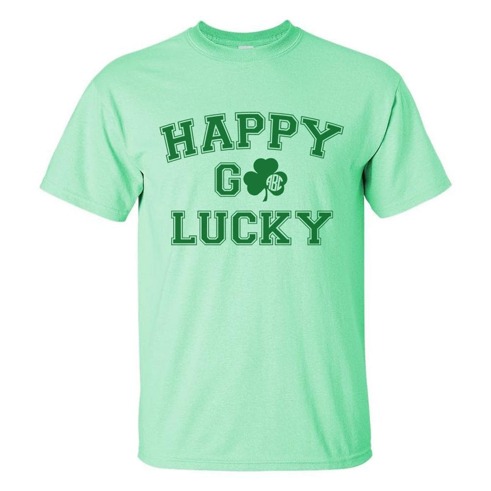 Monogrammed St. Patrick's Day Happy Go Lucky T-Shirt