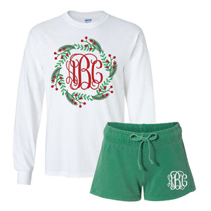 Monogrammed Pajama Christmas Holiday Lounge Set Holly Wreath Shirt & Monogrammed Shorts