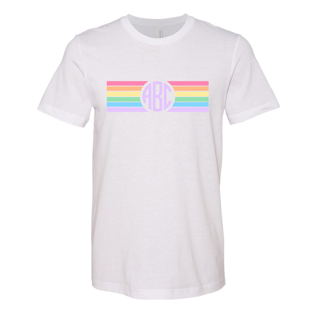 Monogrammed Rainbow Striped Tee