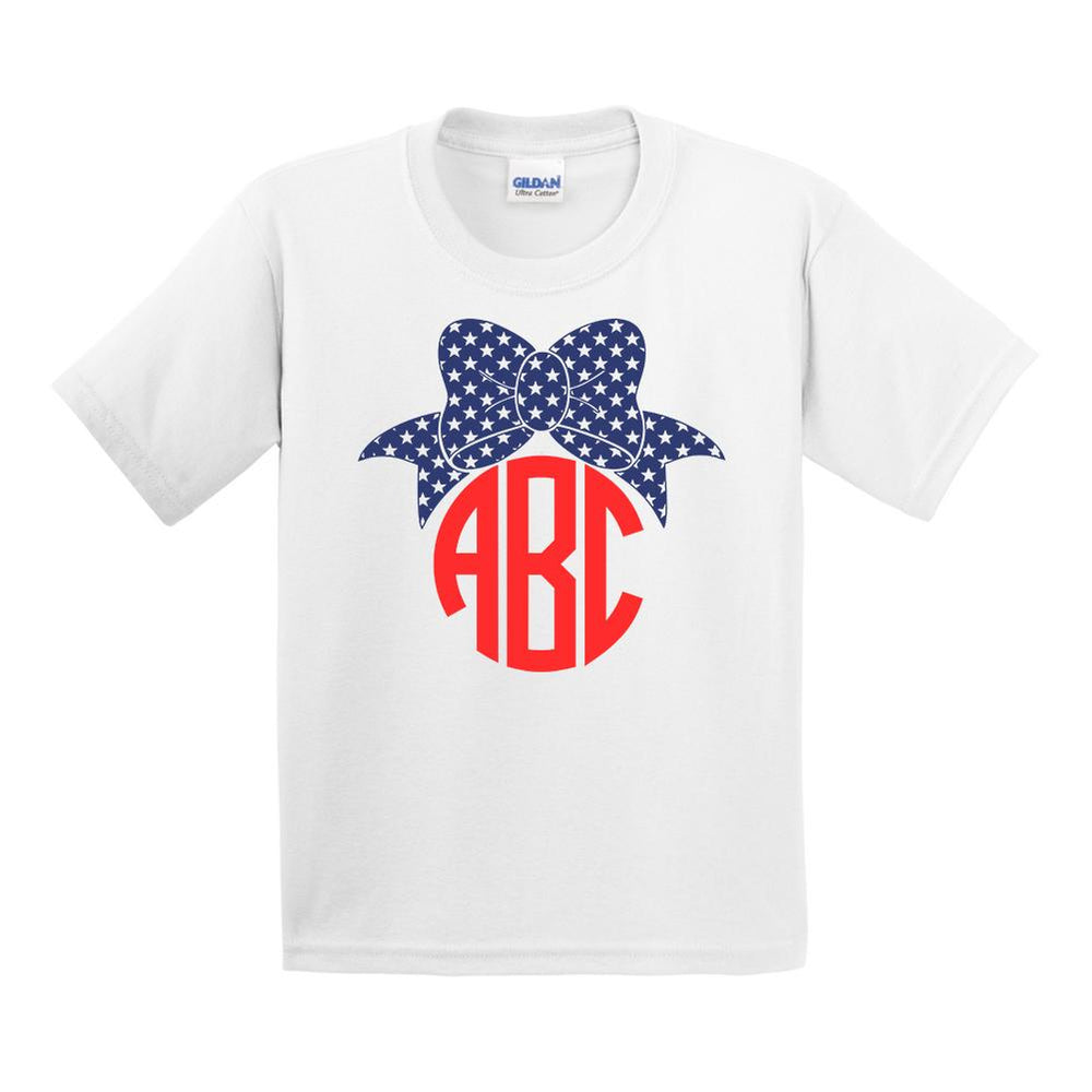 Kids Monogrammed Patriotic Bow T-Shirt Youth Sizes Fourth of July