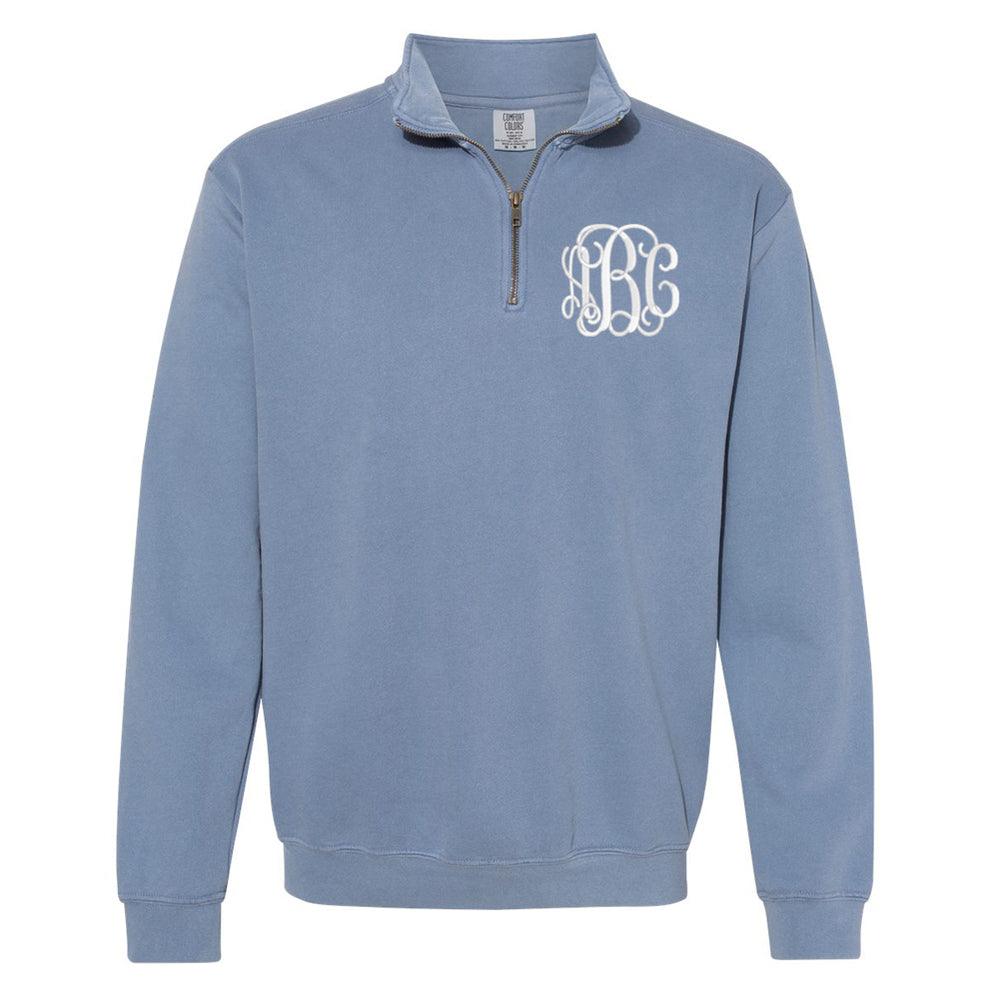 Monogrammed Comfort Colors Quarter Zip Sweatshirt
