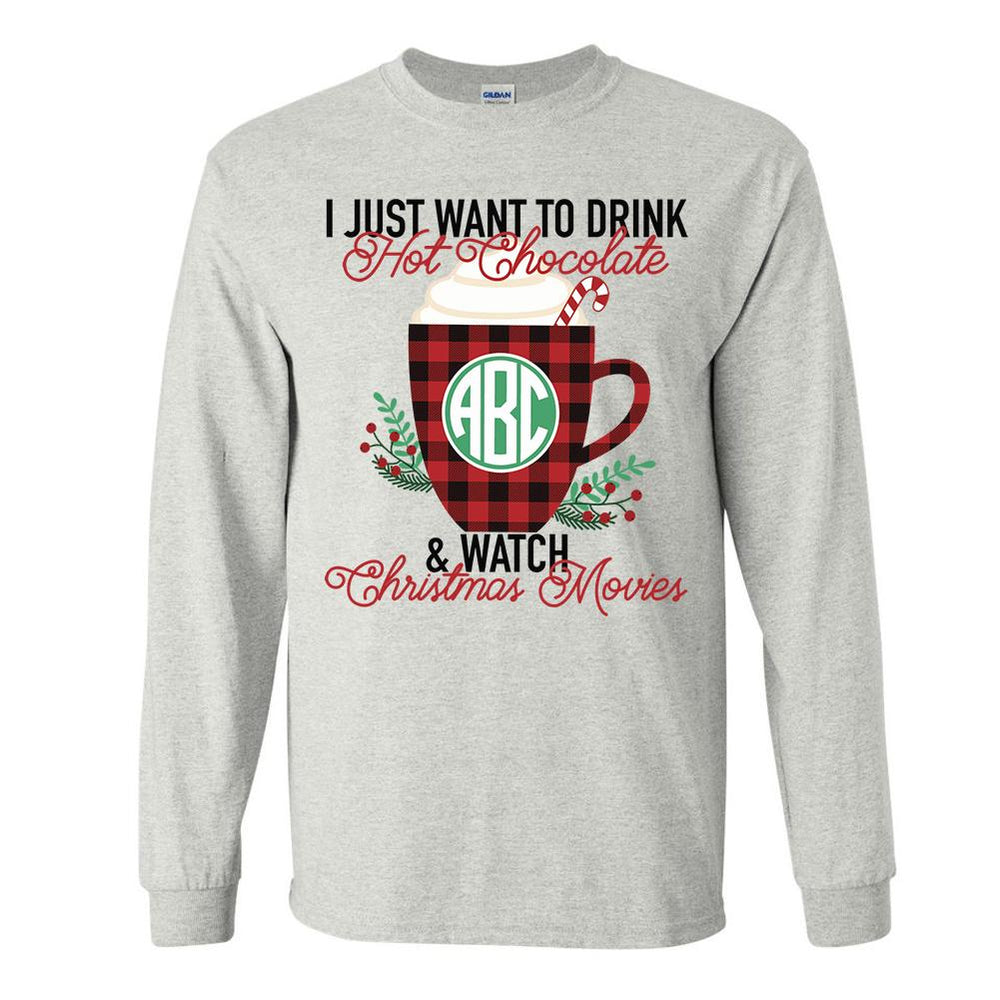 Monogrammed 'Hot Chocolate & Christmas Movies' Long Sleeve T-Shirt