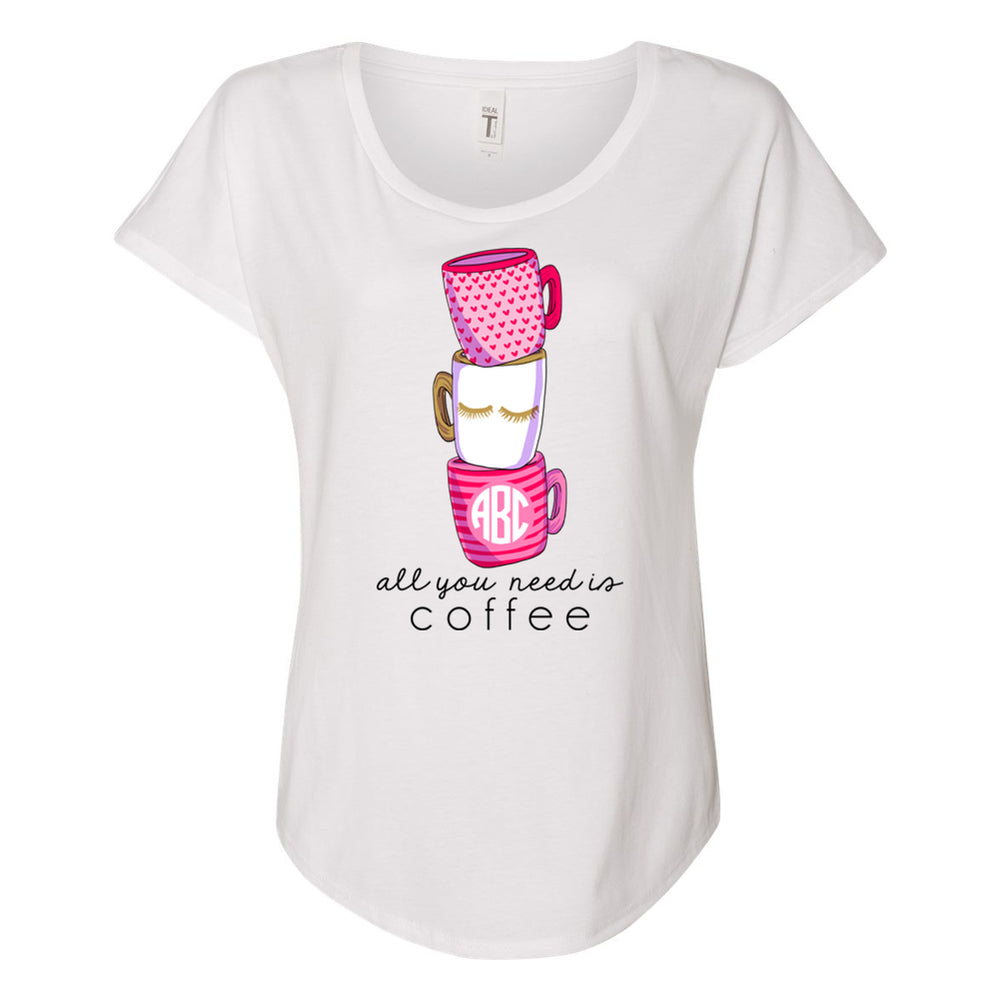 Monogrammed All You Need Is Coffee Flowy Tee