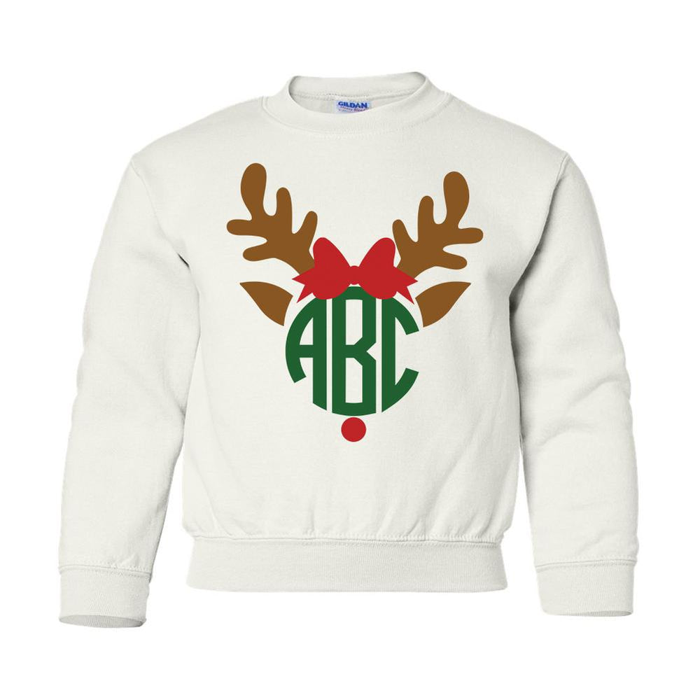 Monogrammed Kids Youth Reindeer Sweatshirt