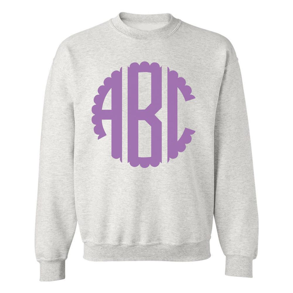 Scalloped Big Print Monogrammed Sweatshirt Grey