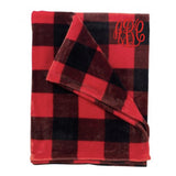 Monogrammed Red Buffalo Check Fleece Blanket