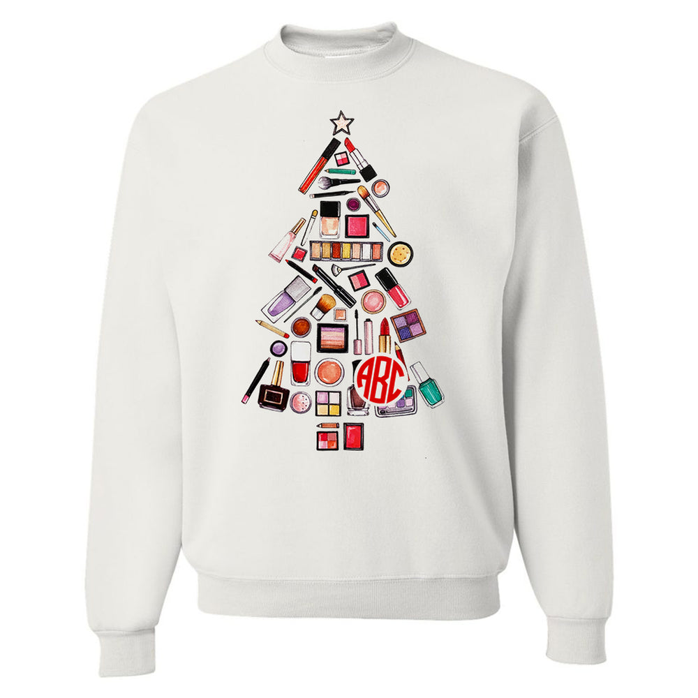 Monogrammed Makeup Christmas Tree Sweatshirt