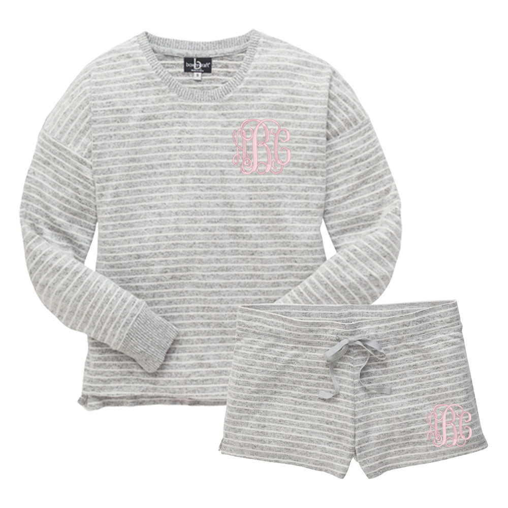 Monogrammed Soft Striped Lounge Set