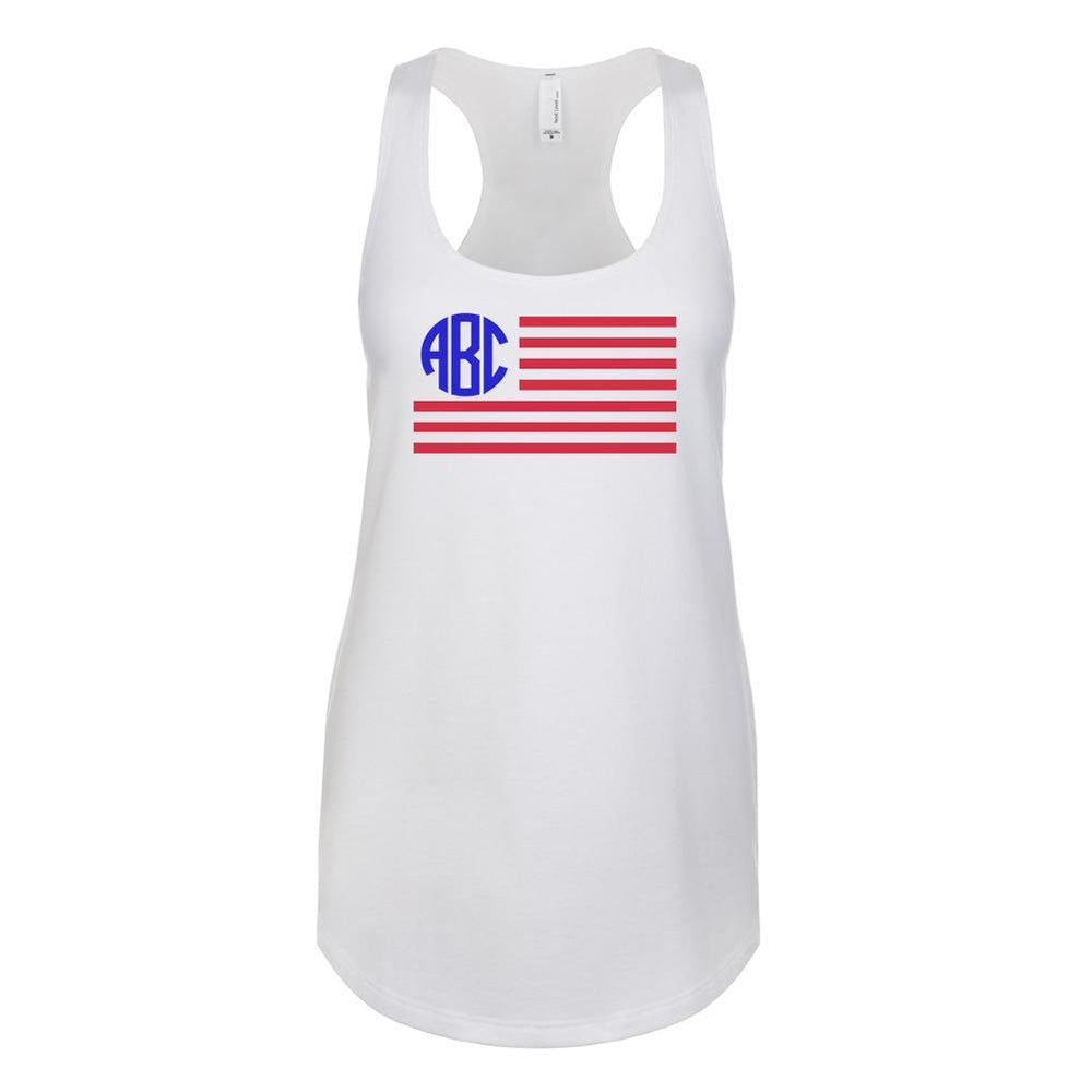 Monogrammed American Flag Racerback Tank Top Fourth of July