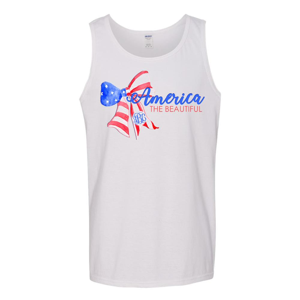 Monogrammed America The Beautiful Tank Top Fourth of July