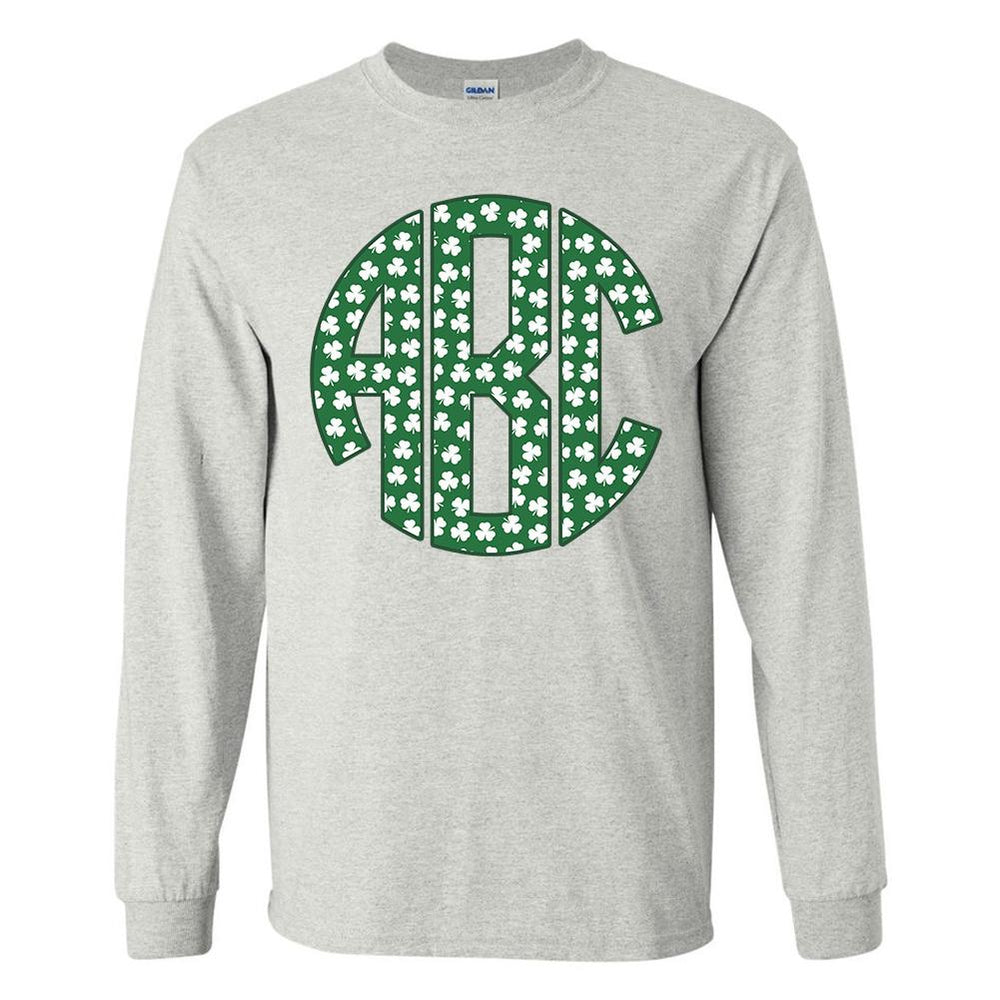 Monogrammed Shamrocks Pattern Long Sleeve Shirt St. Patrick's Day